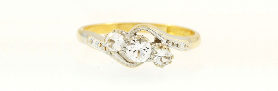 Antique 18Ct Yellow Gold & Platinum Diamond Three-Stone Ring