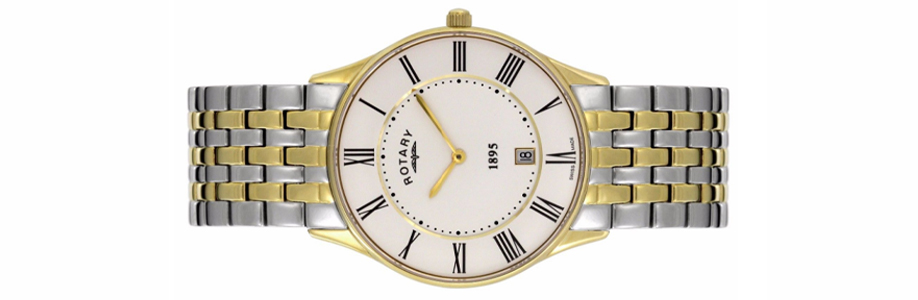 New Boxed Gents Rotary Two-Tone Steel Gold Plate Quartz Movement Watch