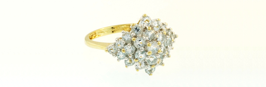 9Ct Yellow Gold Aquamarine Marquise Shaped Cluster Ring