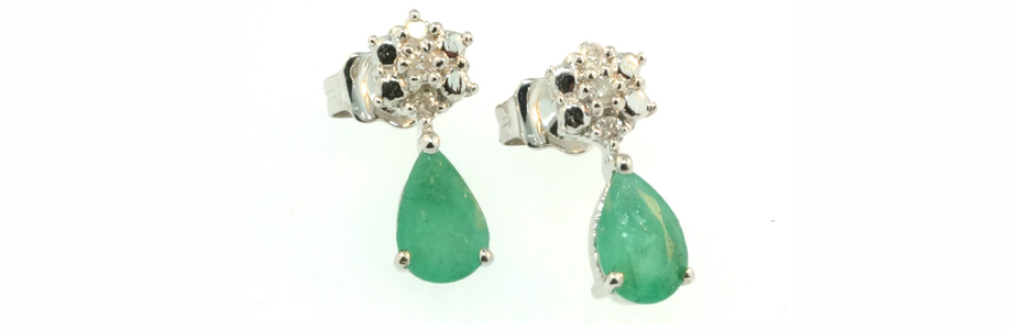 White Gold Pear Emerald and Diamond Drop Earrings