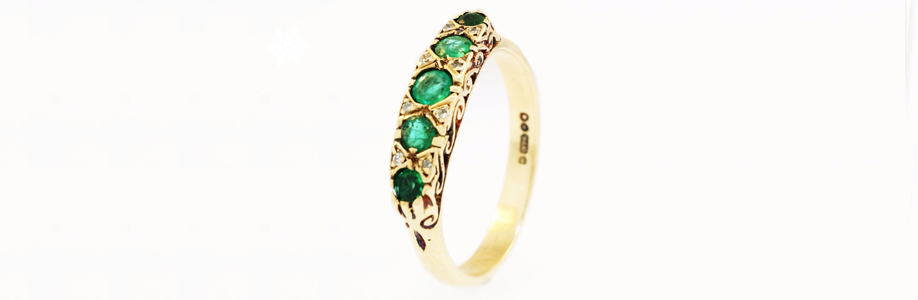 Vintage Yellow Gold Emerald and Diamond Eternity Ring