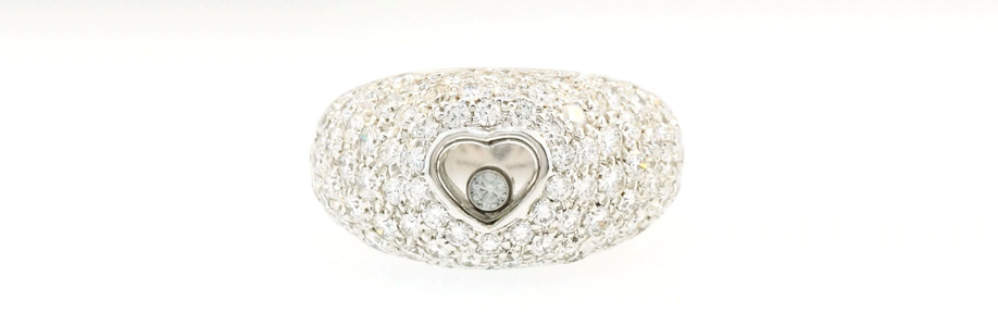 White Gold Chopard Happy Paved Diamond Cluster Ring