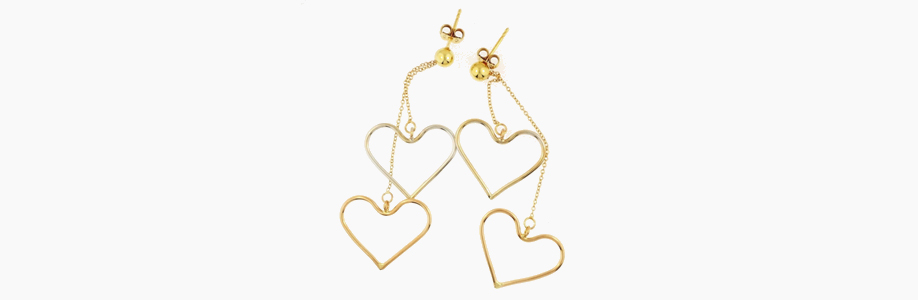 Yellow and White Gold Heart Drop Earrings