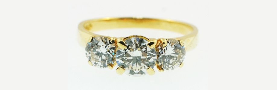 Yellow Gold Three Stone Diamond Ring