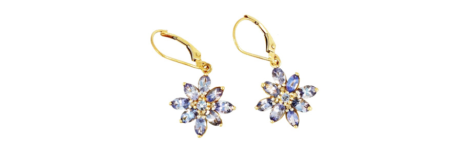 9ct Yellow Gold Tanzanite Diamond Floral Cluster Earrings