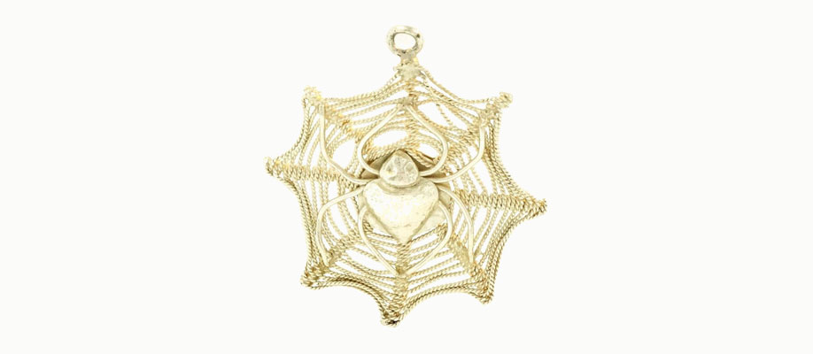 Sterling Silver Spiders Web Charm with Spider