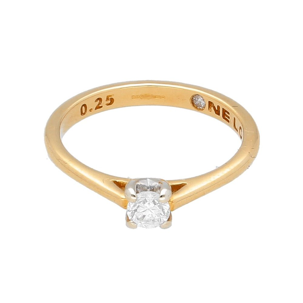 18carat Yellow Gold One Love 0 25ct Diamond Solitaire Ring Size L 4mm Head Jollys Jewellers