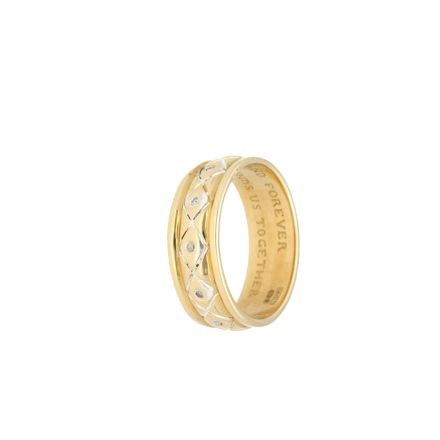 It is just an image of 42Ct Yellow Gold 42.42ct Diamond D-Shape Inscribed Wedding Band (Size S) 42mm Wide